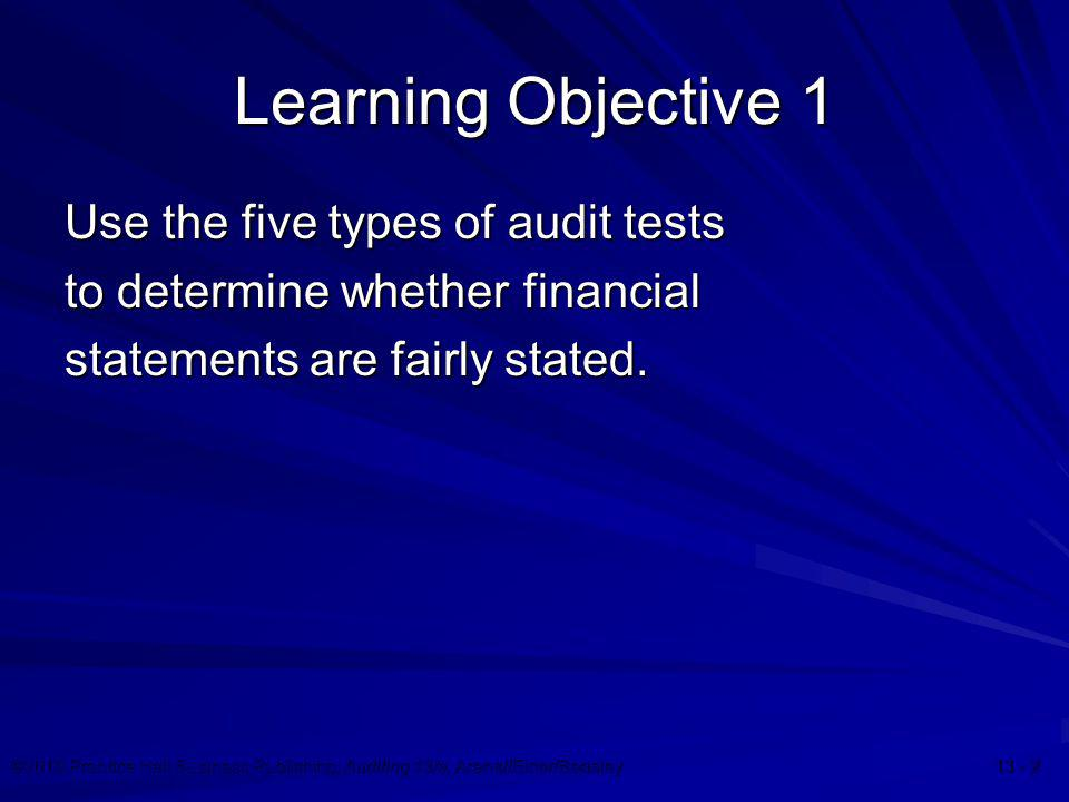 Learning Objective 1 Use the five types of audit tests