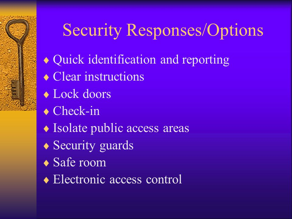 Security Responses/Options