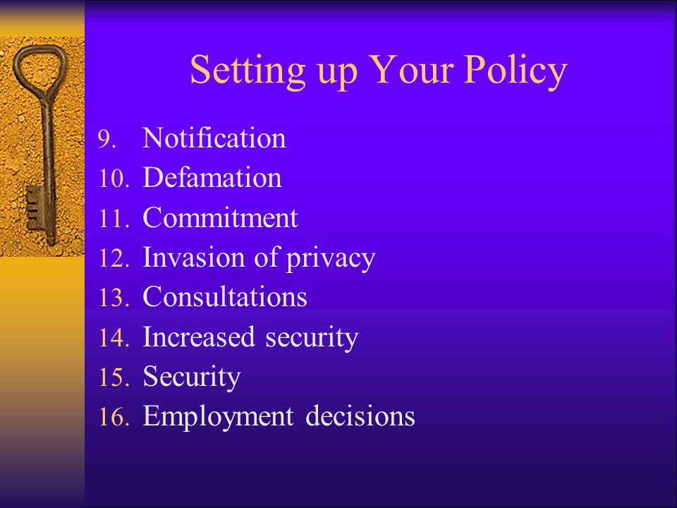 Setting up Your Policy Notification Defamation Commitment
