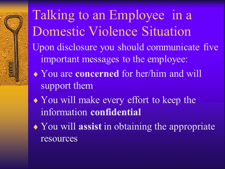 Talking to an Employee in a Domestic Violence Situation