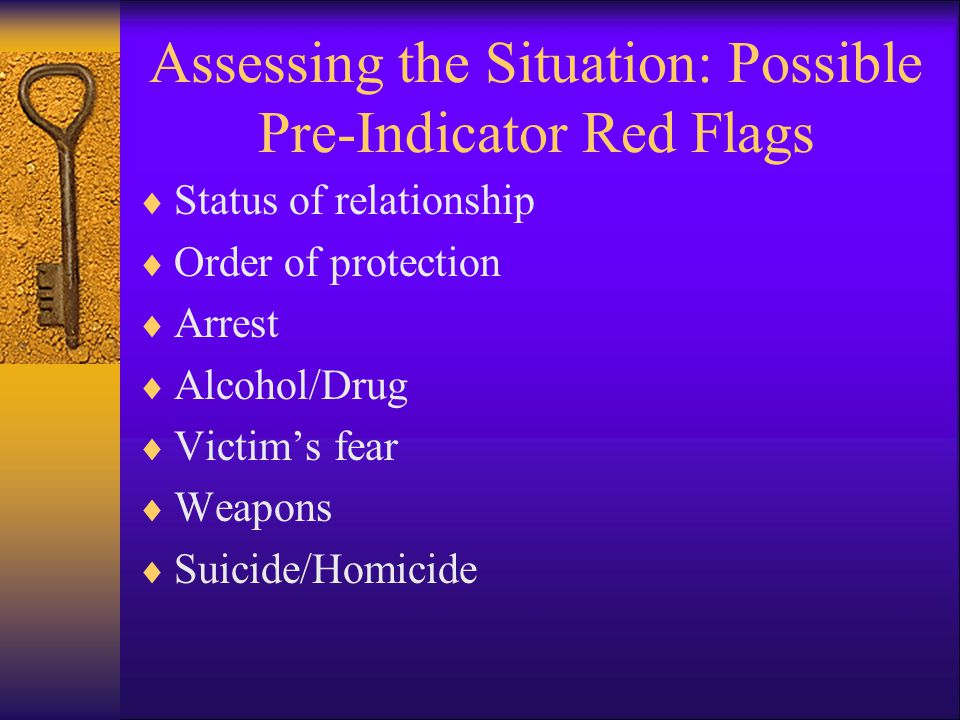 Assessing the Situation: Possible Pre-Indicator Red Flags