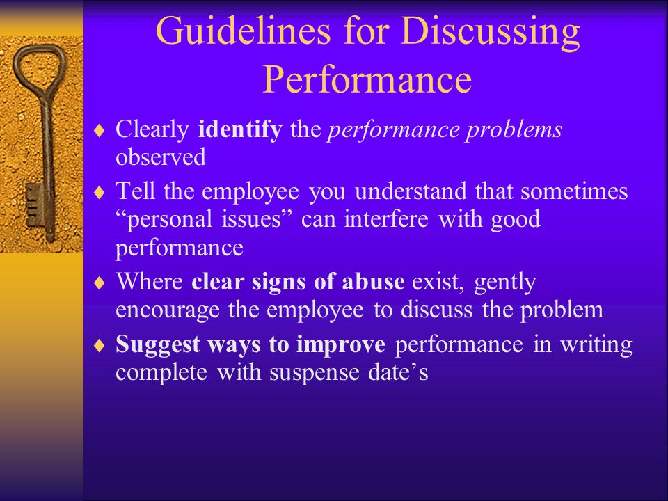 Guidelines for Discussing Performance