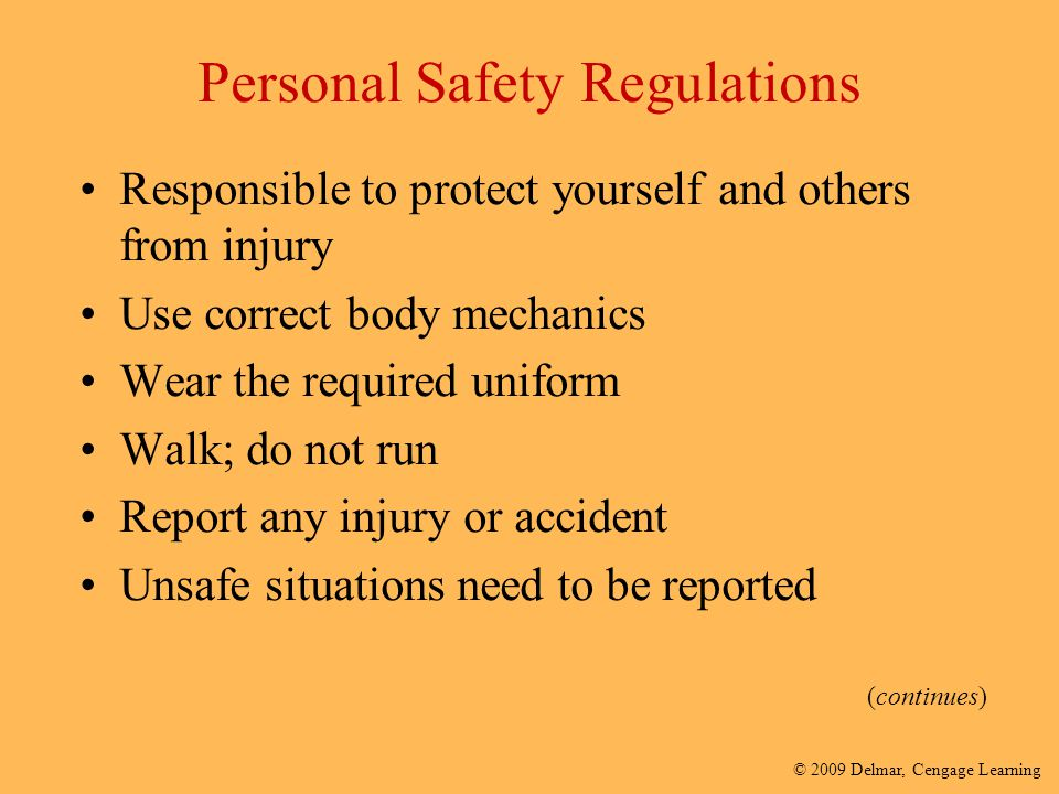 Personal Safety Regulations