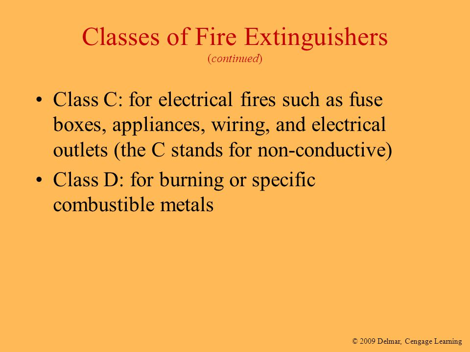 Classes of Fire Extinguishers (continued)