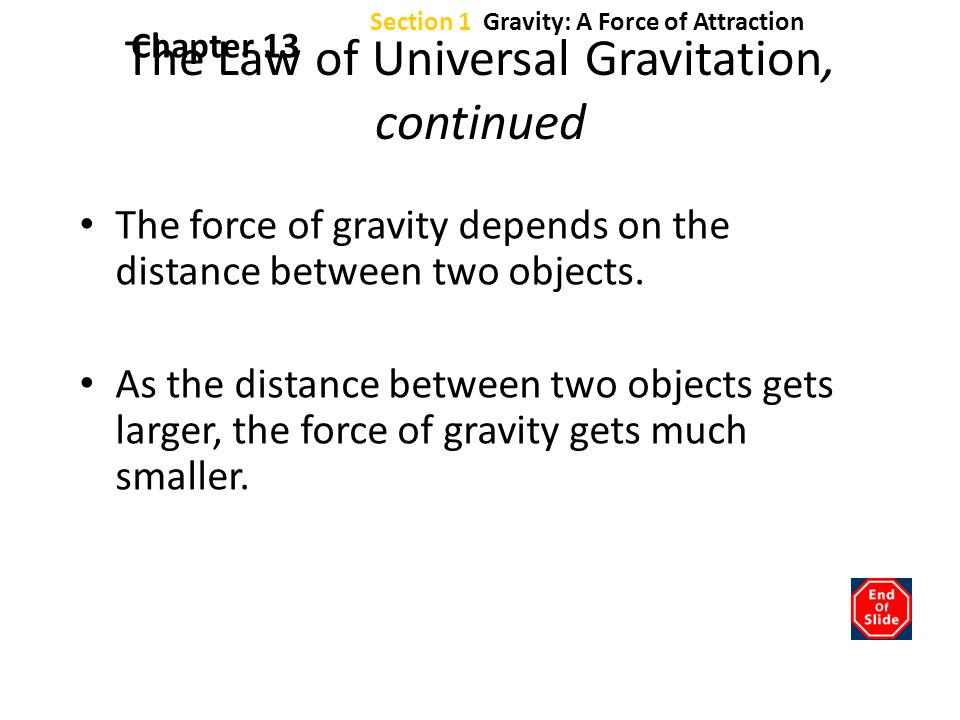 The Law of Universal Gravitation, continued