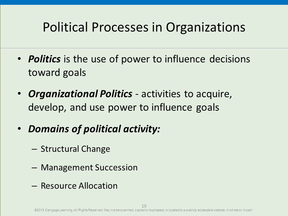 Political Processes in Organizations