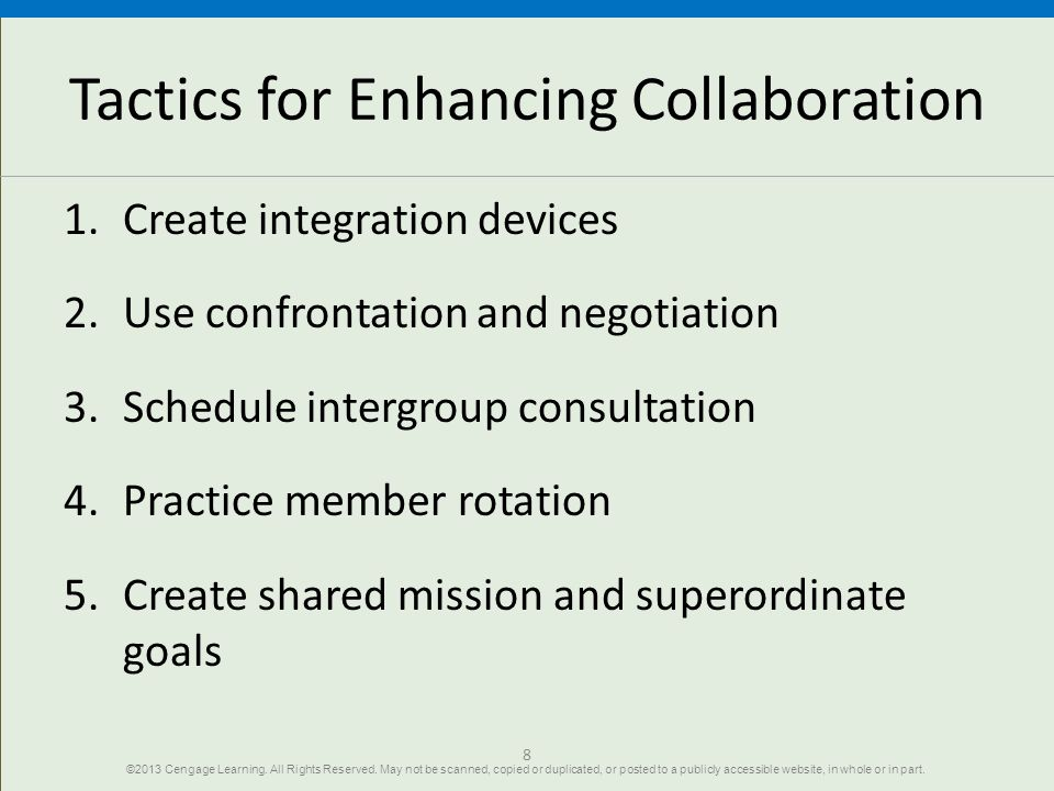 Tactics for Enhancing Collaboration