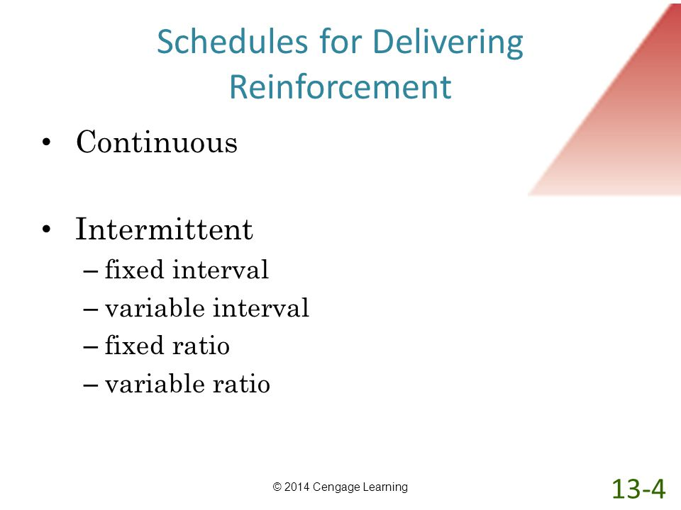 Schedules for Delivering Reinforcement