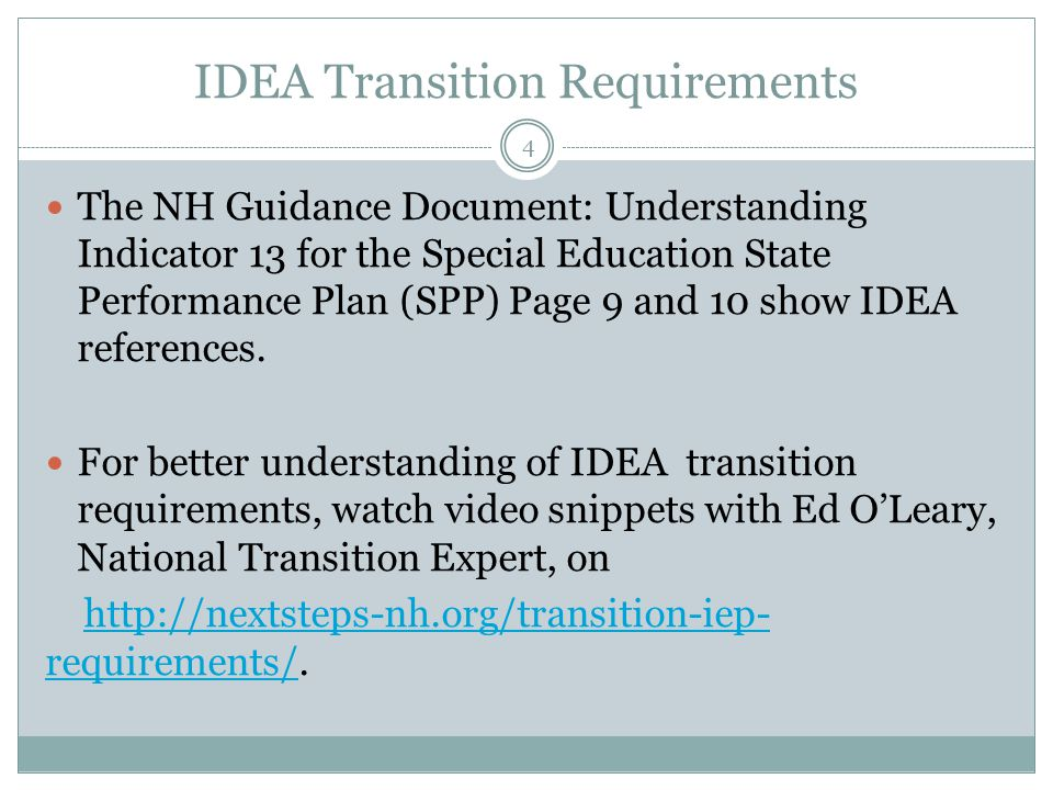 Indicator 13 training for high schools monitoring cycle ppt video 4 idea transition requirements altavistaventures Gallery