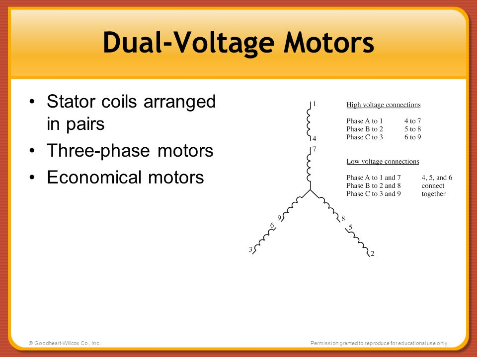 Dual-Voltage Motors Stator coils arranged in pairs Three-phase motors