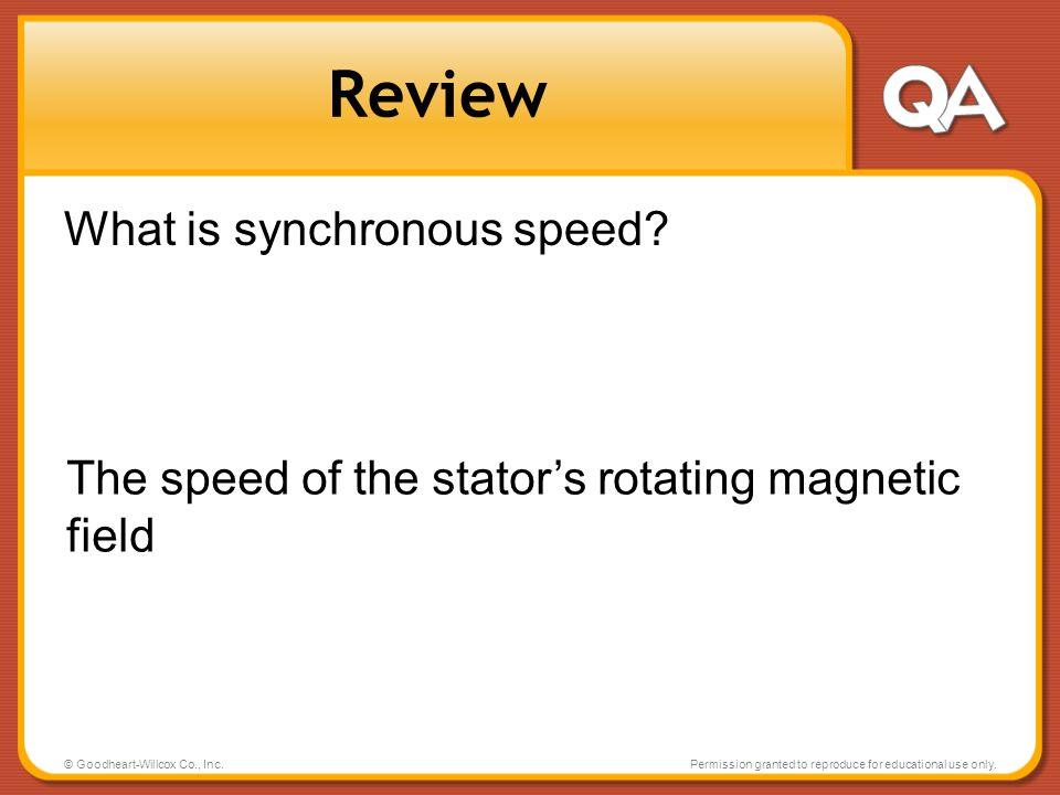 Review What is synchronous speed