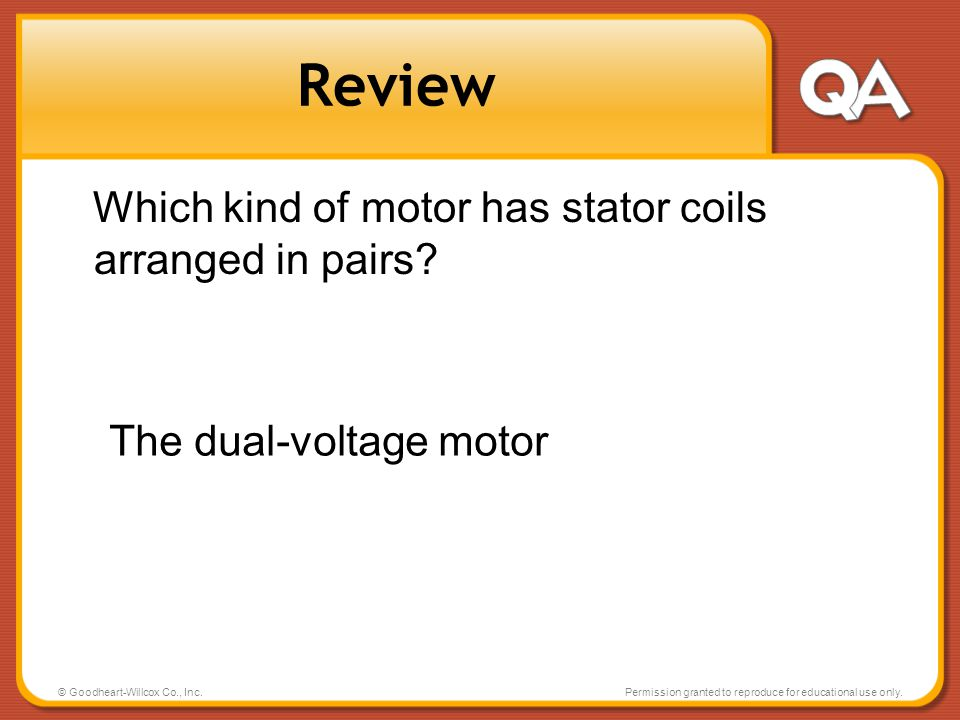 Review Which kind of motor has stator coils arranged in pairs