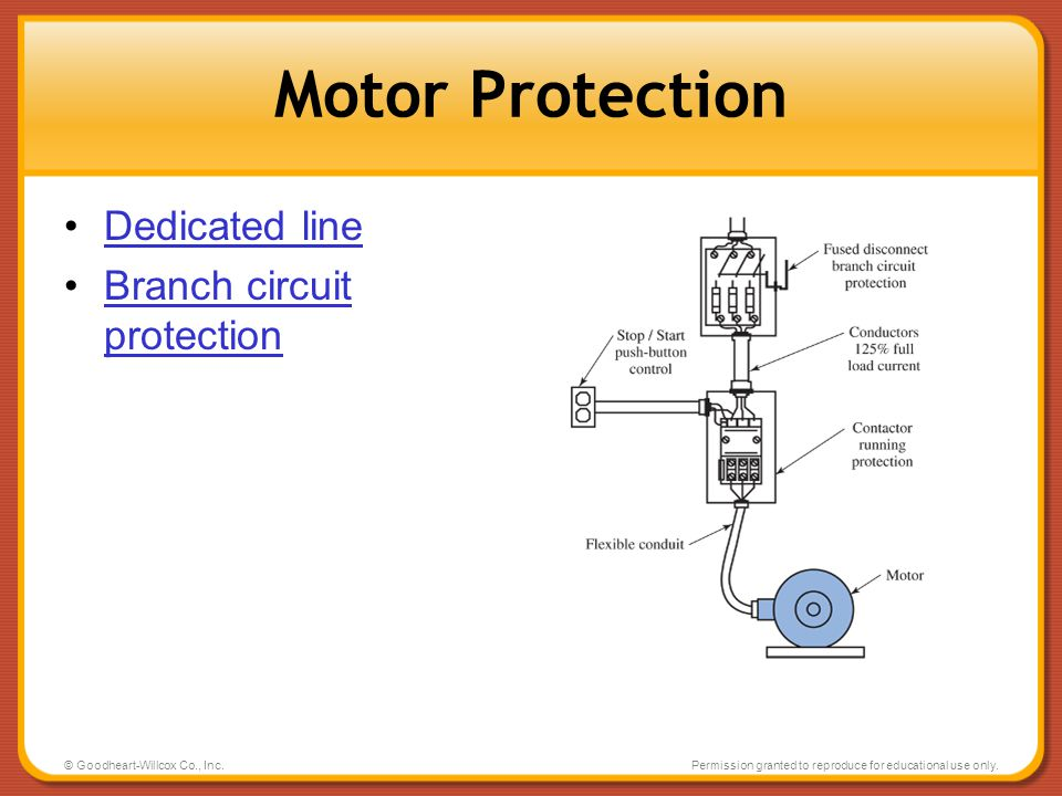 Motor Protection Dedicated line Branch circuit protection