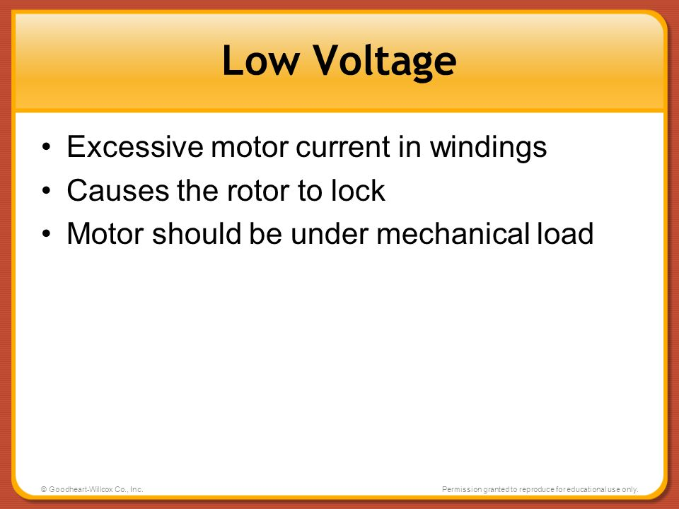 Low Voltage Excessive motor current in windings