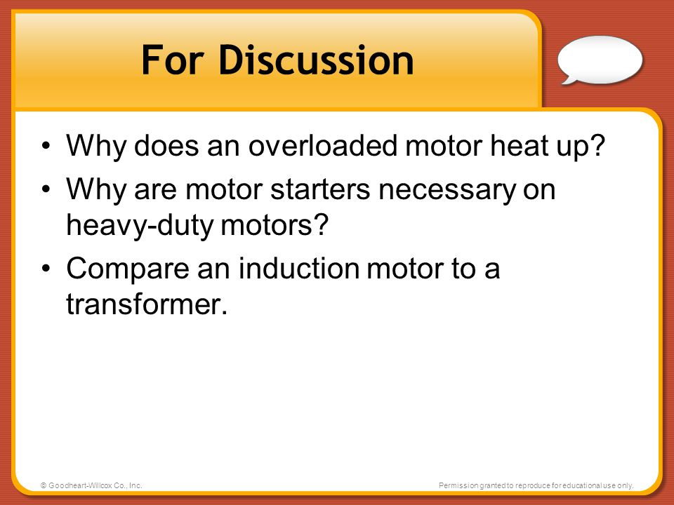 For Discussion Why does an overloaded motor heat up