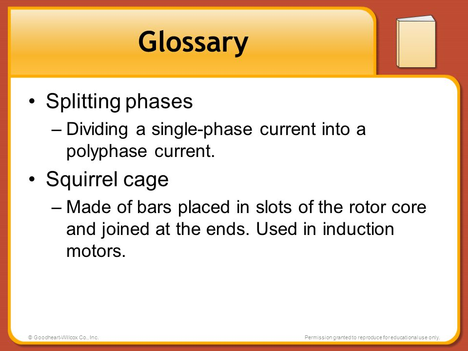 Glossary Splitting phases Squirrel cage