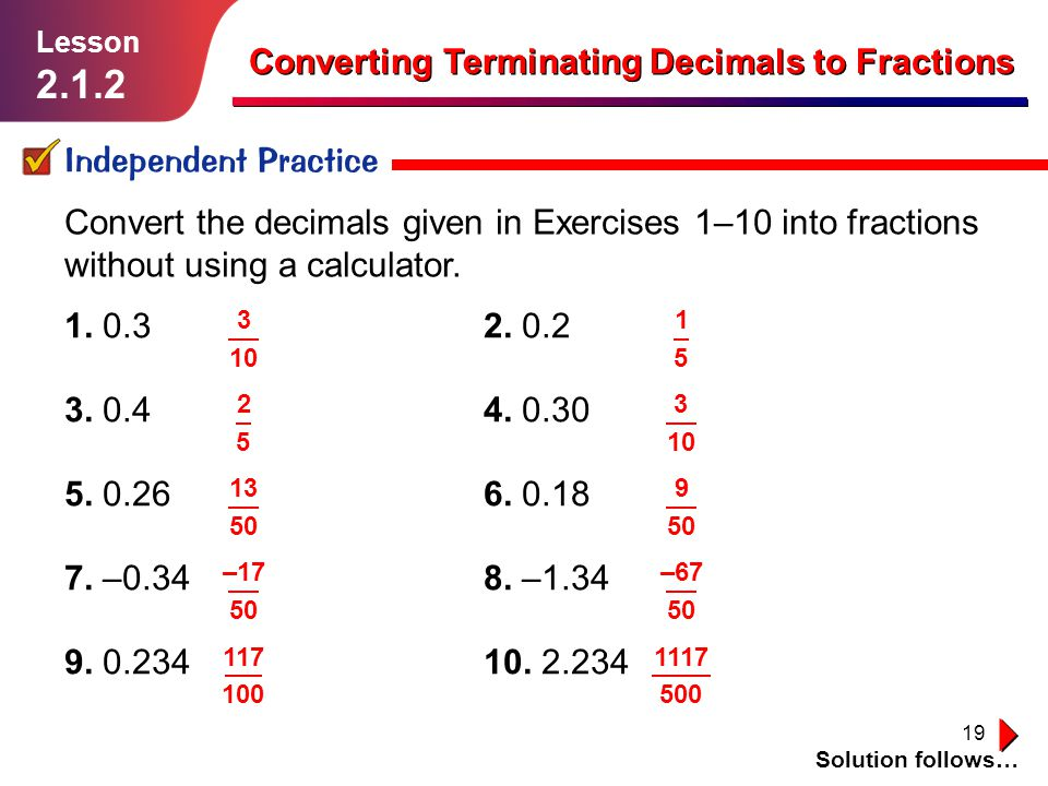 Converting Terminating Decimals To Fractions