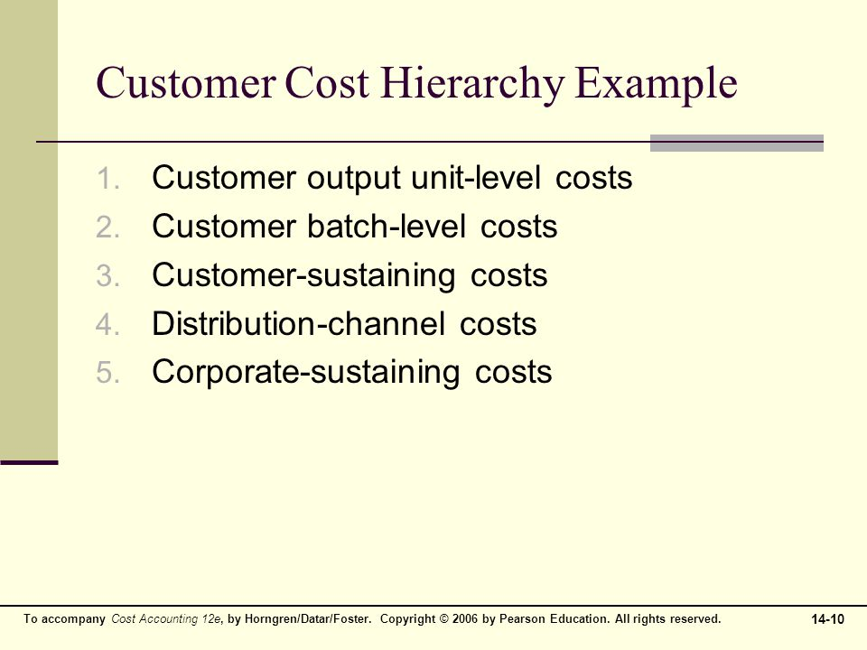 Customer Cost Hierarchy Example