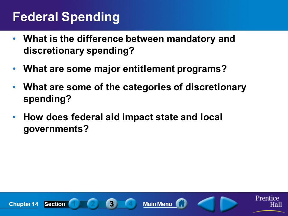Federal Spending What is the difference between mandatory and discretionary spending What are some major entitlement programs