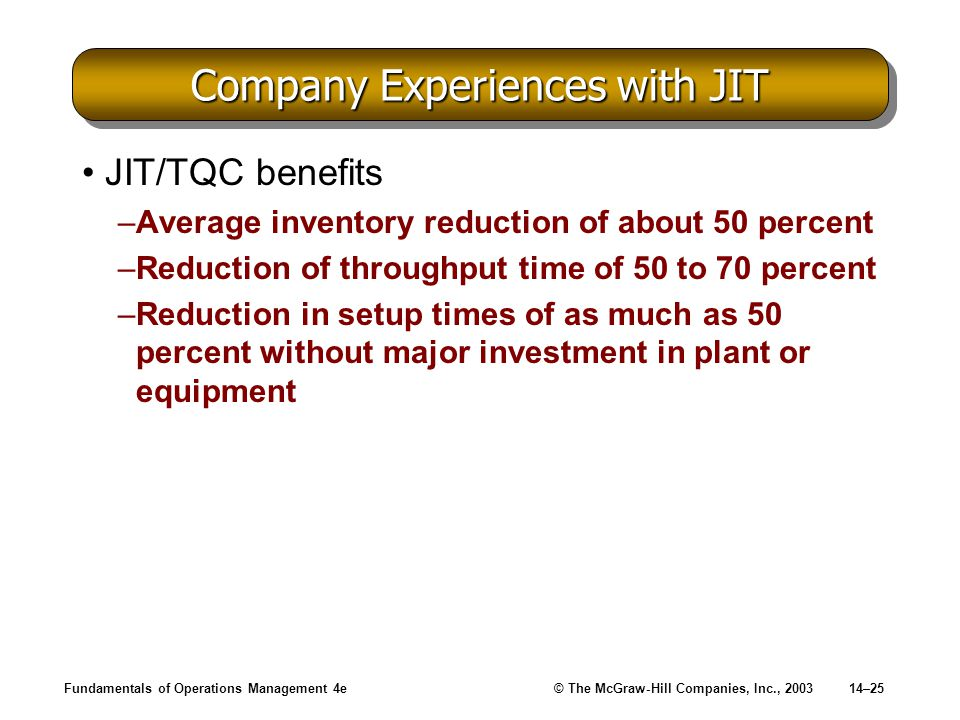 Company Experiences with JIT