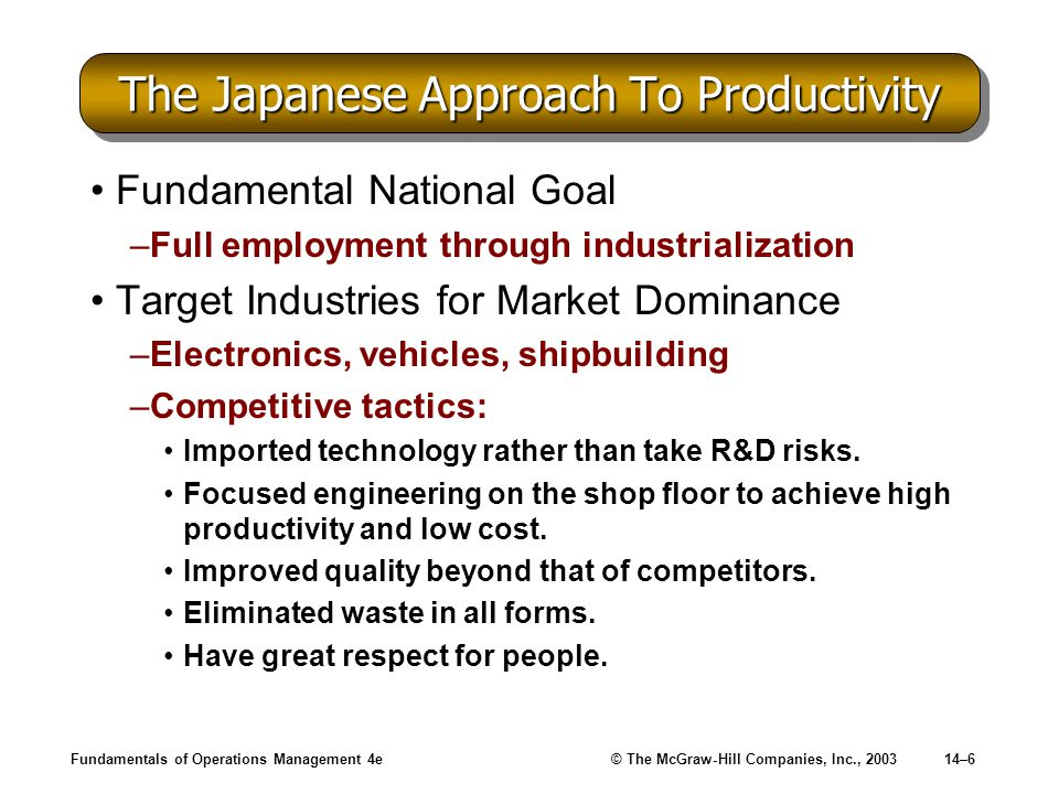 The Japanese Approach To Productivity