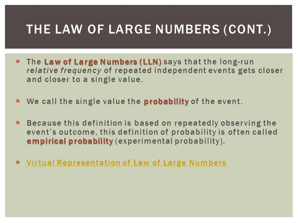 The Law of Large Numbers (cont.)