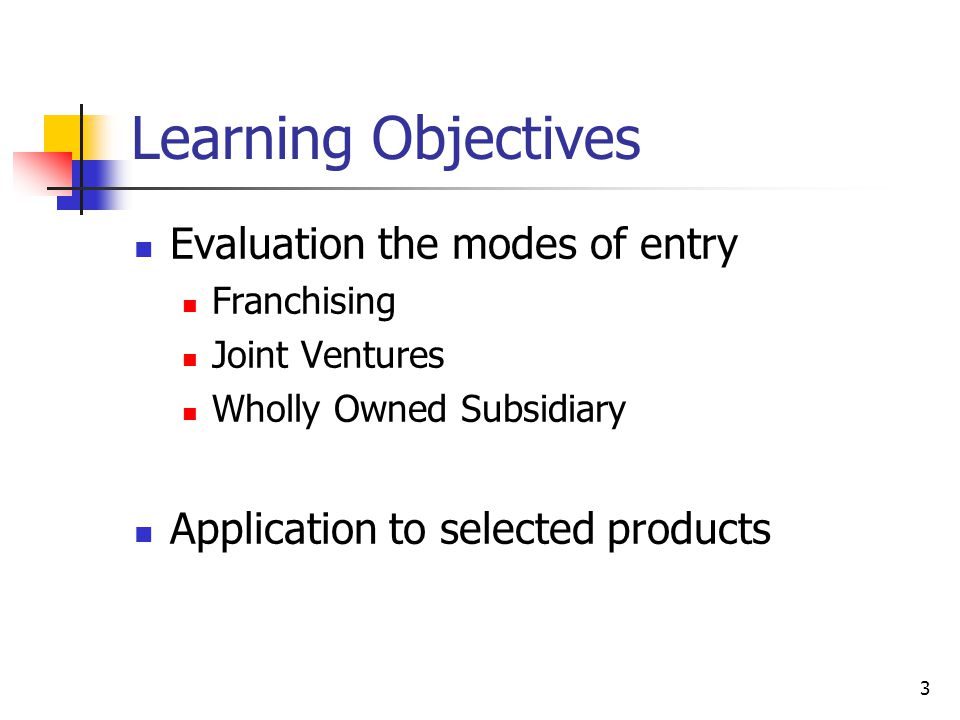 Learning Objectives Evaluation the modes of entry