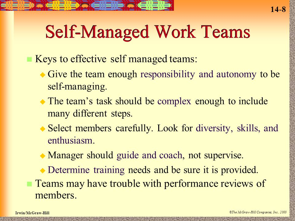 what is a self managed work team