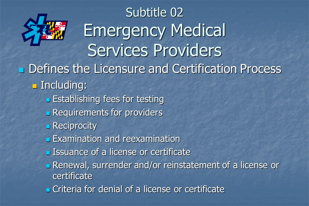 Subtitle 02 Emergency Medical Services Providers