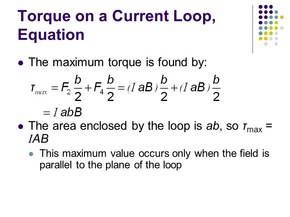 Torque on a Current Loop, Equation