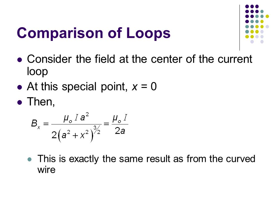 Comparison of Loops Consider the field at the center of the current loop. At this special point, x = 0.
