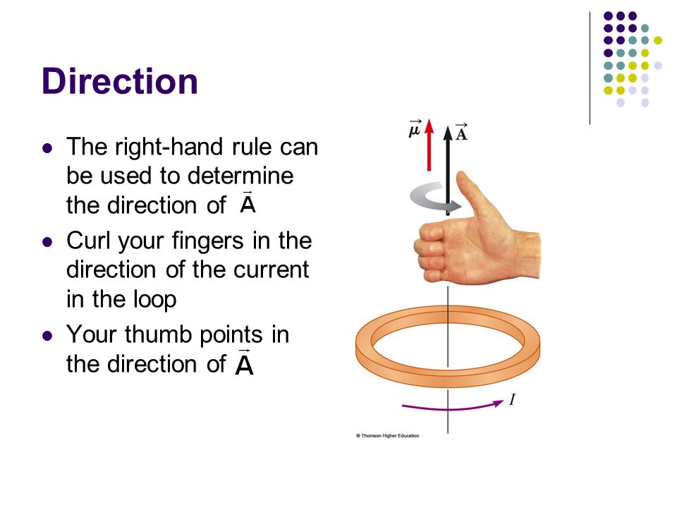 Direction The right-hand rule can be used to determine the direction of. Curl your fingers in the direction of the current in the loop.