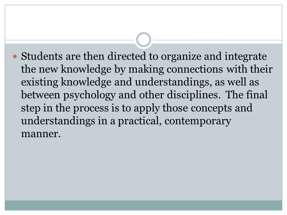 Students are then directed to organize and integrate the new knowledge by making connections with their existing knowledge and understandings, as well as between psychology and other disciplines. The final step in the process is to apply those concepts and understandings in a practical, contemporary manner.