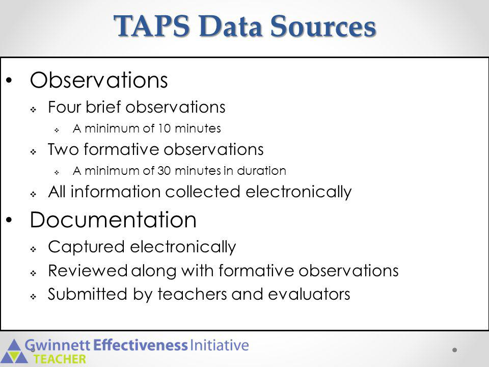 TAPS Data Sources Observations Documentation Four brief observations