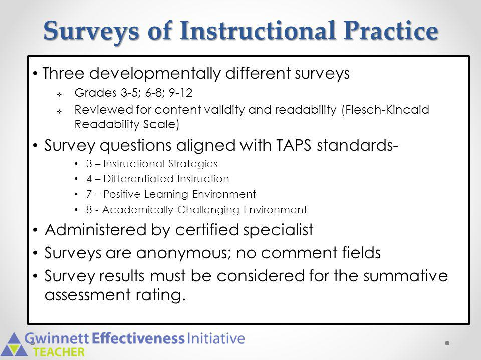 Surveys of Instructional Practice