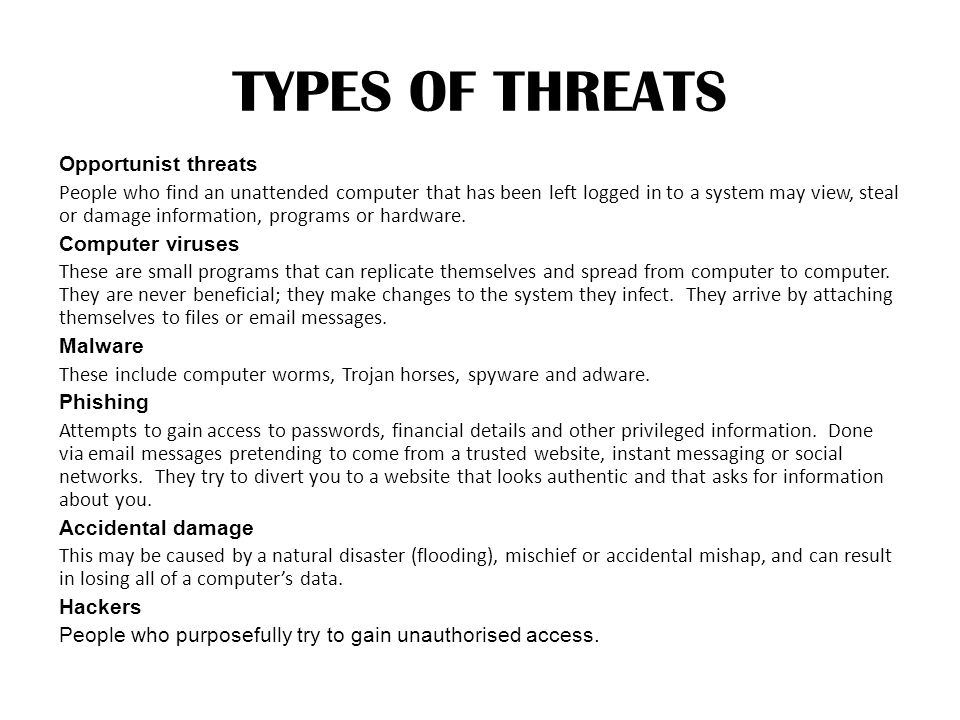 TYPES OF THREATS
