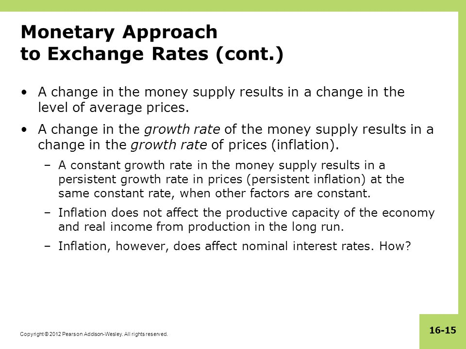 Monetary Roach To Exchange Rates Cont