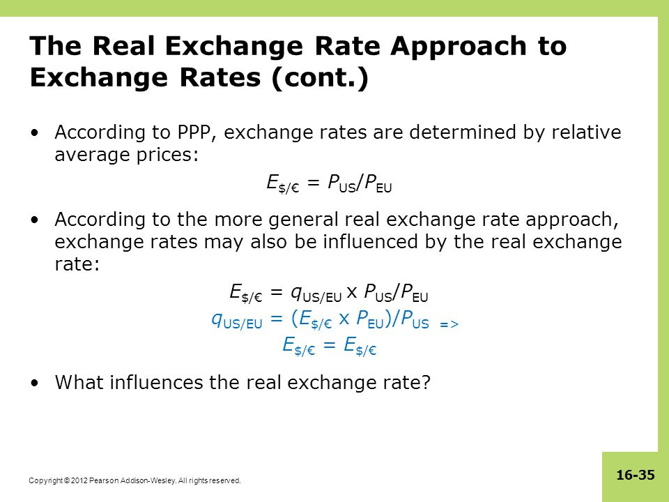 The Real Exchange Rate Roach To Rates Cont
