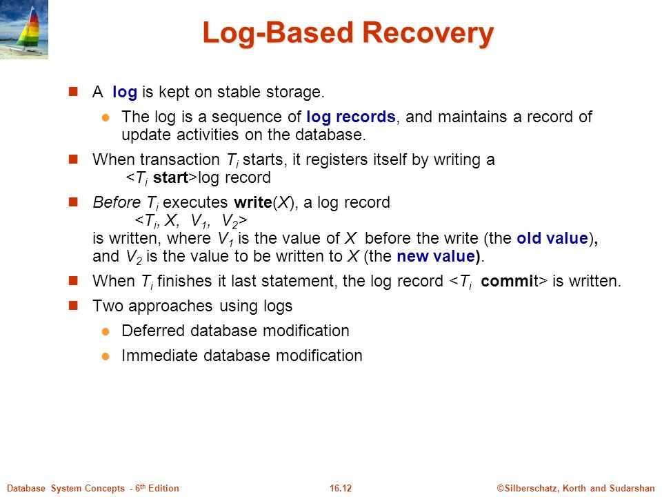 Log-Based Recovery A log is kept on stable storage.