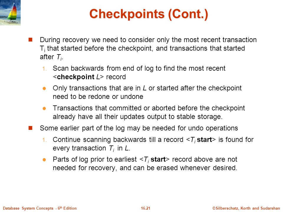 Checkpoints (Cont.)