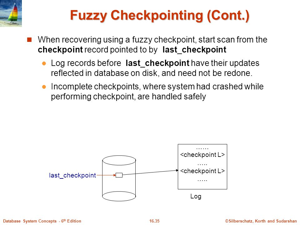 Fuzzy Checkpointing (Cont.)