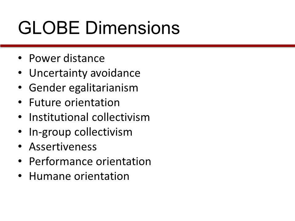GLOBE Dimensions Power distance Uncertainty avoidance