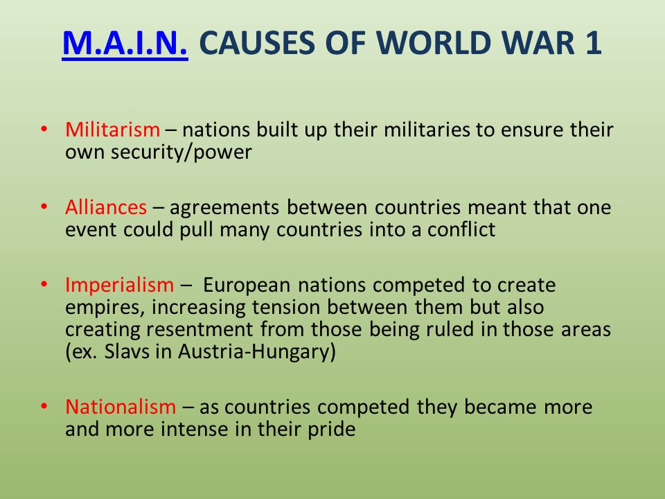 The Causes If Ww1