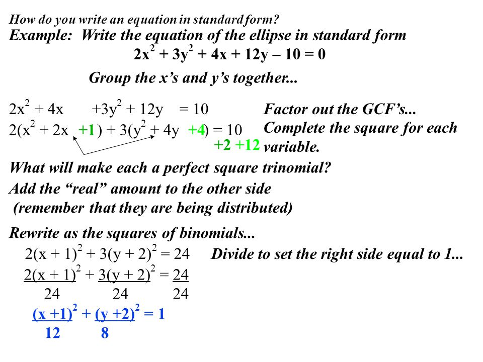 How do you write an equation in standard form