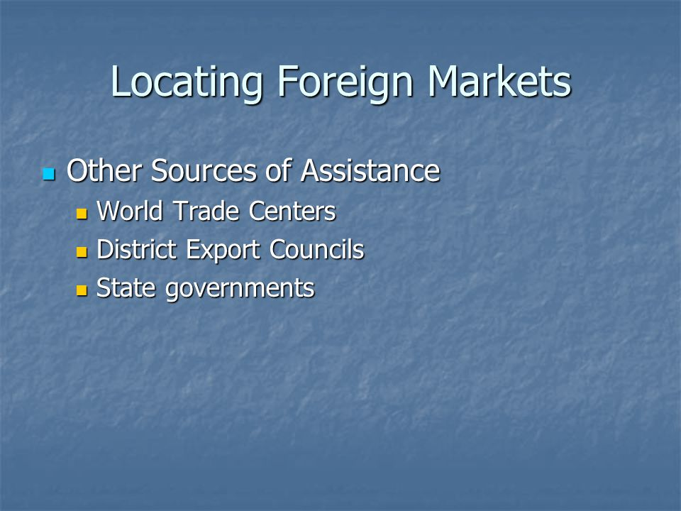 Locating Foreign Markets