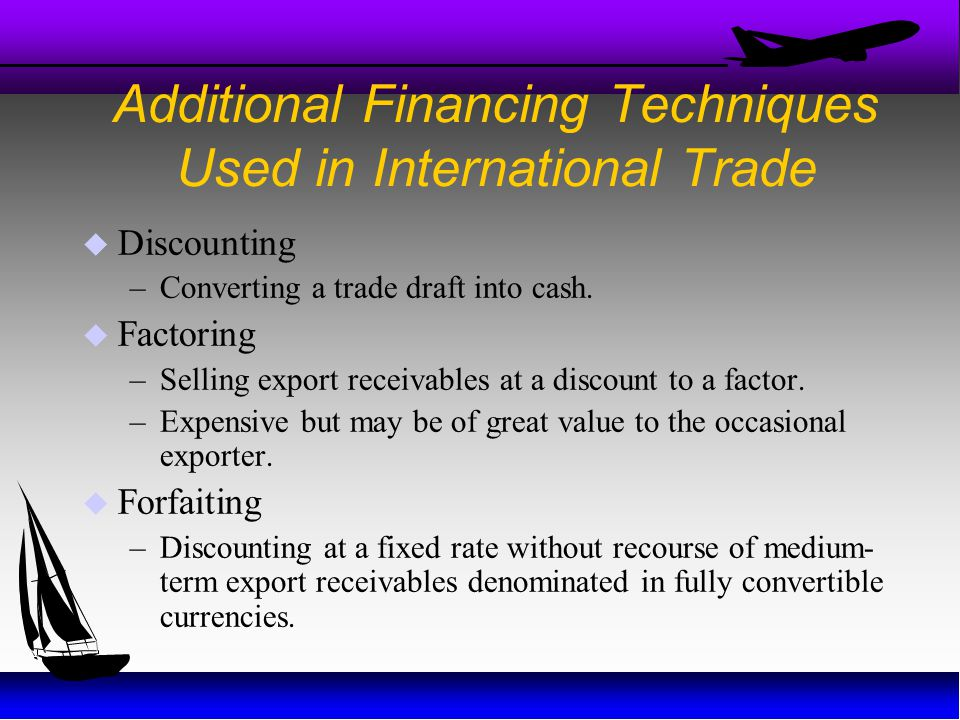 Additional Financing Techniques Used in International Trade