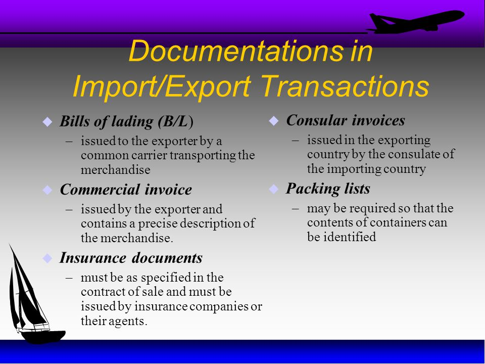 Documentations in Import/Export Transactions