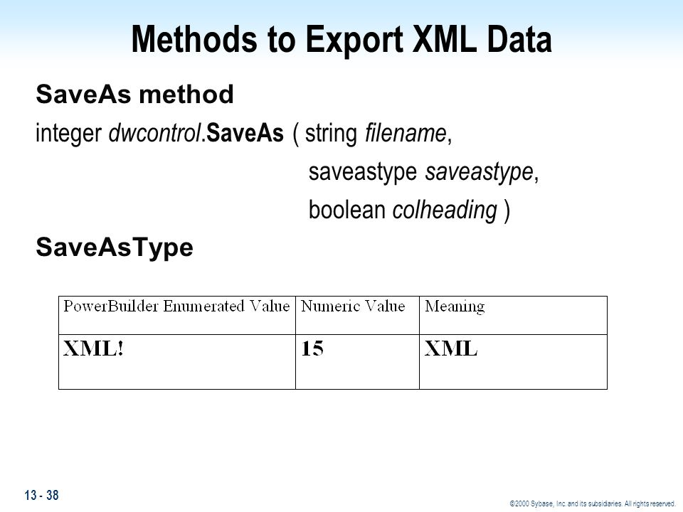 Methods to Export XML Data