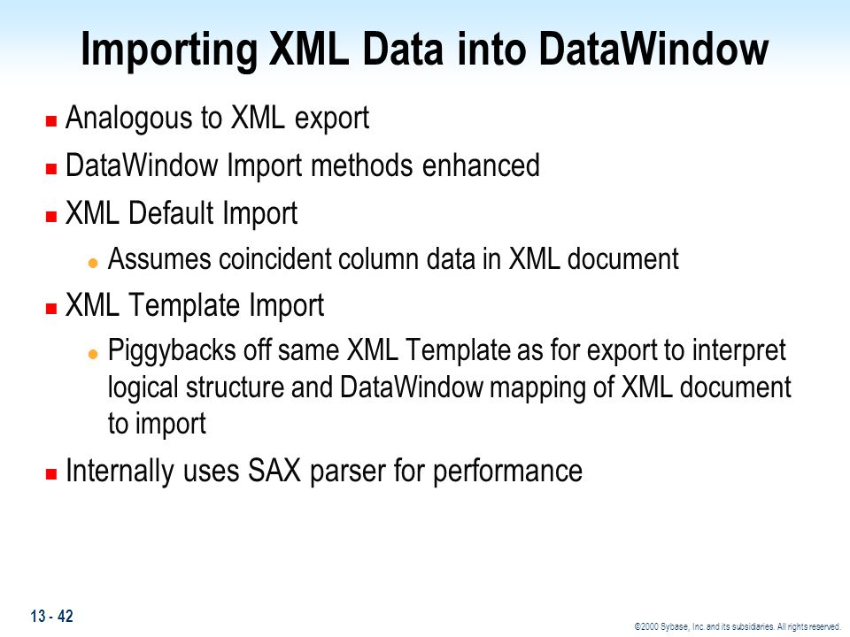 Importing XML Data into DataWindow