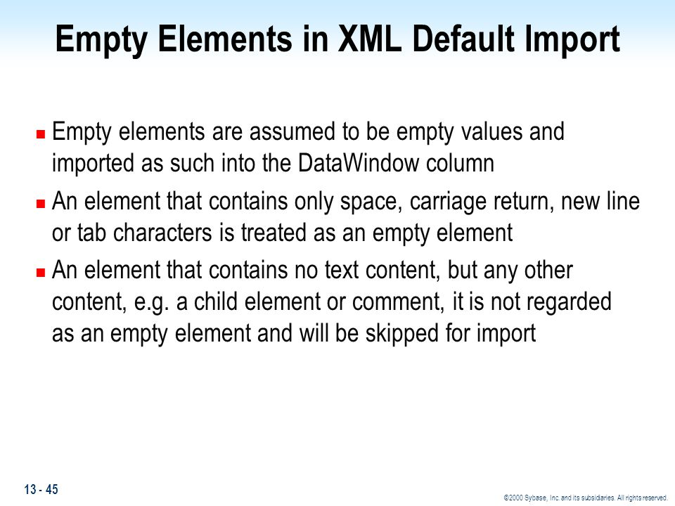 Empty Elements in XML Default Import